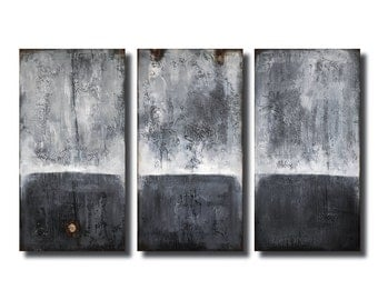 "X-Large Original Textured Abstract Art, Pallete Knife Art, Textured Painting, Triptych Painting,Gray Abstract Art, Wood Sculpture, 48"" X 30"""
