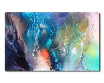 X-Large Original Abstract Painting, Fluid Acrylic Painting, Modern Wall Art, Contemporary Wall Art, Multicolor, Beach Wall Art, 48 X 30