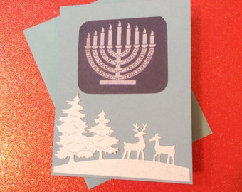 Hanukkah Card, Blue, Candles, White Trees, Deer, Buck, Doe, Happy Hanukkah Inside, HandmadeBeige Inside
