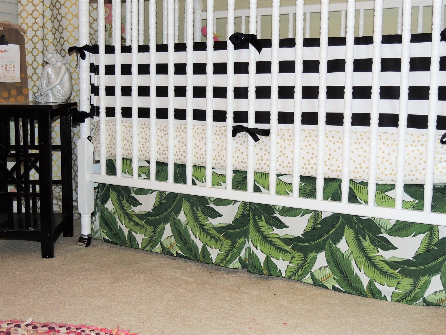 Crib for sale in palm bay - Custom Crib Bedding In Black White Gold And Green With Tropical Leaf Print Banana Leaf Crib Skirt Palm Leaf Crib Bedding Tropical Crib