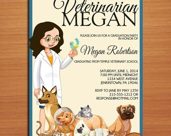 Veterinarian / Animal Science Degree Graduation Party Invitation Cards PRINTABLE DIY