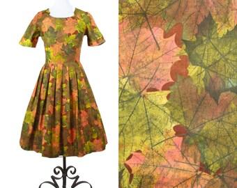1950s Dress // Fall Leaf Novelty Print Cotton Day Dress