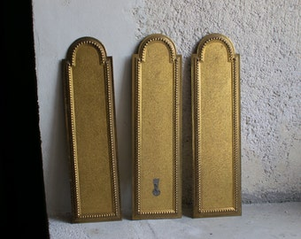 Antique French Push Plates // Gold Door Plates // Architectural Salvage