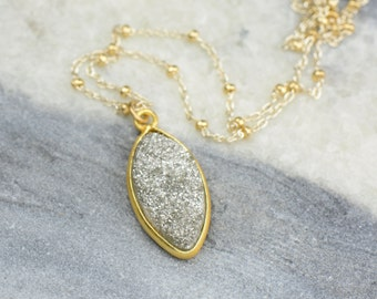 Silver Druzy Necklace   Dainty Delicate Necklace   Sterling Silver & 14k gold filled   Marquis Pendant Necklace NS92