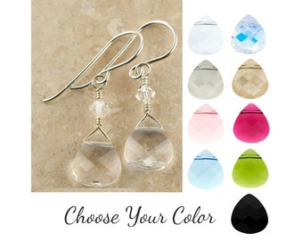 Bridesmaid Teardrop Earrings | Choose Your Color | Sterling Silver or Gold Filled Dangle | Swarovski Elements | 1-pair ES375