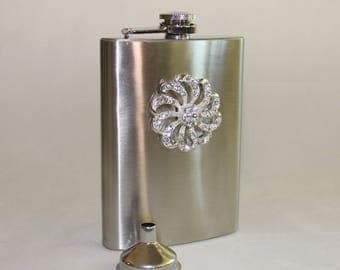 Sweet Girly, Jeweled Pinwheel Bling, Stainless Hip Flask with Funnel