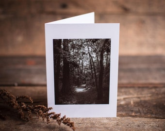 Greeting Card 10 // Trail, Path, Woodland, Through the Woods, Journey, Black & White, Wander