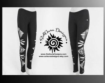 STARDUST - Womens / Juniors Cut Up, Shredded and Weaved Dark Grey Leggings, Club Wear, Sexy Wear, Festival Wear L-3009