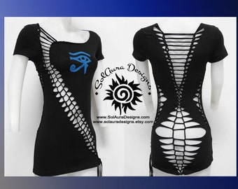 BLUE EYE of HORUS - Junior/Womens Cut and weaved Top great for Festival Wear, Yoga Wear, or anytime fun wear