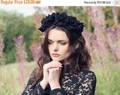 Black Friday Black velvet flower hairband, flower crown, rose hairpiece, festival flowers