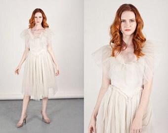 60s Ballet Dress Vintage White Tulle Bodysuit Costume Dress