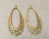 Brass Filigree Chandelier. Filigree Connector. Earring Findings. Brass Findings. Jewelry Supplies. 40mm. Four (4).