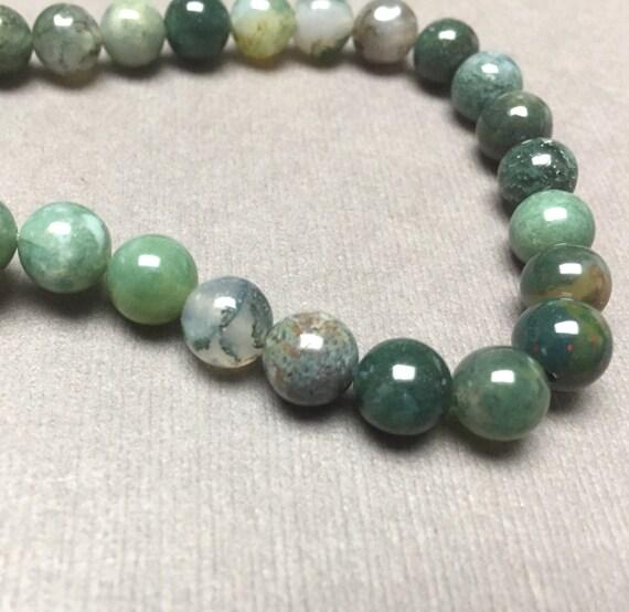 Green Gemstone Opaque Moss Agate Round Beads...