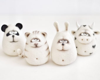 Needle felted animals - Christmas gift - Felted animals - Panda - Cow - Bunny - Cat  - Handmade toys - Needle felting - Felt toys - for her
