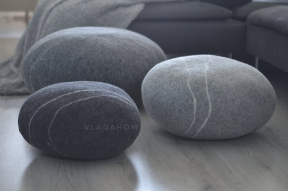 Stone Shaped Floor Pillows : Felted wool stone Floor cushions Pouf Floor pillows