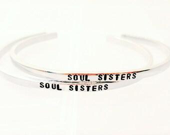Soul Sisters Bracelets, Best Friend Bracelets, Hand Stamped Skinny Stacking Cuff