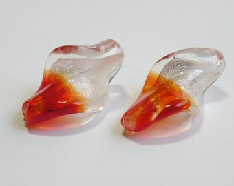 Twisted Leaves Lampwork Glass Beads orange yellow silver foil focal beads 30x20mm JO43