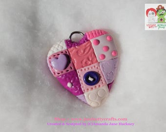 Pink Patchwork. Hearts. Keyrings. Pendant or Key Chains. Handmade from Polymer Clay