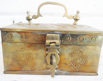 Brass box vintage hasp for lock carrying handle embossed lidded hinged