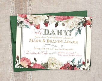 Baby Shower Invitations - Vintage Floral Baby Shower Invitations - Printed Invitation Cards - Custom Garden Themed Baby Shower Invitations