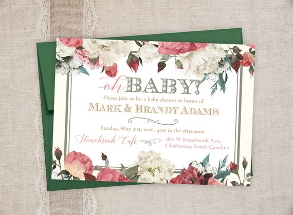 Baby shower invitations vintage floral baby shower invitations il570xn filmwisefo