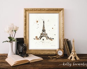 Eiffel Tower Art, Wall art, Paris painting, watercolor printable, instant Download