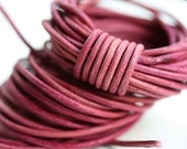 2mm Natural Leather cord, Round - Pink Vintage - 10 feet, LC064