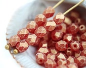 4mm Gold Ruby glass beads, Matte Suede Red czech beads, Fire polished spacers, round beads - 50Pc - 0754