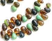 4x6mm Tiny glass drops beads mix in Earthy colors, Picasso teardrop czech beads, Brown Topaz, Turquoise green - 50pc - 2234