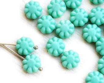 Mint Green Flower beads, 9mm czech glass flat daisy pressed beads - 20Pc - 1235