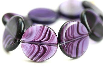 17mm Purple Coin czech glass beads, round tablet shape striped purple pressed bead - 8Pc - 3025