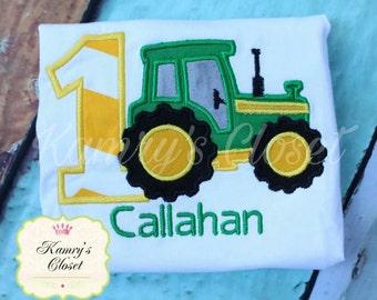 Tractor Birthday Appliqued Shirt