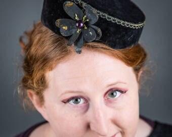 Black Velvet Pillbox Hat - 1960s hat, black pillbox hat, vintage pillbox hat, velvet pillbox hat, black velvet hat, wedding hat, millinery