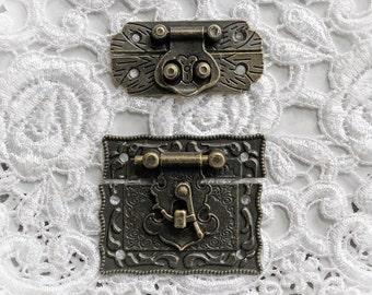 Reneabouquets Victorian Tarnished Brass Latch Trinkets 2 Pack~ Metal Scrapbook Embellishment,  Box Latch, Book Box Latch, Mini Album Latch