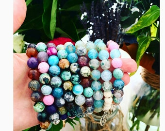 Earthy greens , greys, browns and purple agate  and rose gold gemstone bracelet