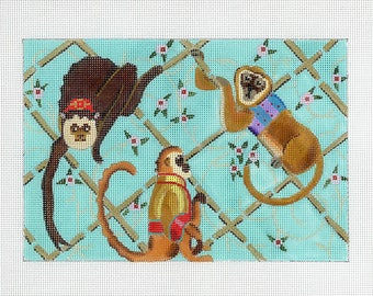 Handpainted Needlepoint Monkey Canvas - Brown, Aqua - Animal Needlepoint - Monkeys in Bamboo