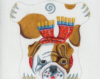 Hand painted Needlepoint Dog Canvas - Bulldog Beanbag