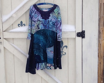 Bohemian blue dress L, hippie dress, floral gypsy dress, Eco fashion dress