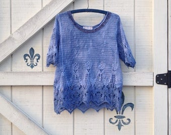 Lace top M-L, beach cover lace, dyed crochet lace top upcycled,