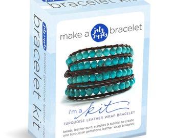 leather wrap bracelet, leather wrap bracelet KIT, bracelet making kit, wrap bracelet kit, adult craft kit, leather bracelet kit, tutorial