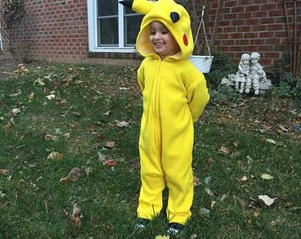 Child's Pikachu costume, size 5, 6, 7, & 8 ORDER before OCTOBER 1ST to guarantee delivery by Halloween