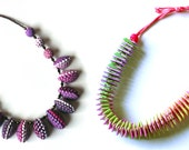 Polymer clay necklaces: Garland and Half Lentil Beads.