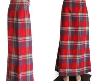 1985s Maxi Skirt, Vintage Wool Skirt, plaid long skirt, Long Winter Skirt, High Waisted Skirts, Navy blue Red Skirts, long maxi skirt.