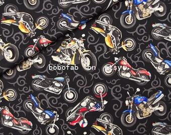 """2339  - 1 yard Cotton Poplin fabric - Motocycle (140cmx91.44cm,55""""x36"""")"""