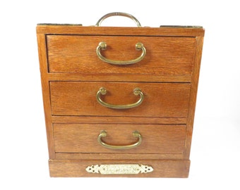 Vintage Musical Wood Jewelry Box - Wood Chest Box with Drawers