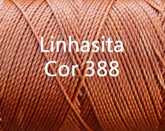 Linhasita Copper cor 388,  Waxed Polyester Macrame Cord Durable/ Hilo/ Spool