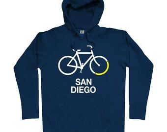 Bike San Diego Hoodie - Men S M L XL 2x 3x - Hoody, Sweatshirt, Bicycle Hoodie, Cycling Hoodie, San Diego Hoodie, Bike Hoodie