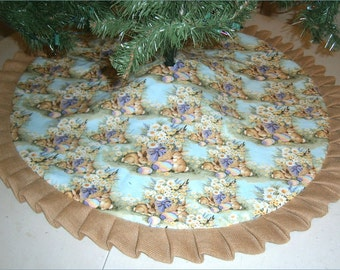 "Easter Tree Skirt ~47"" ~ Rabbits on Light Teal with Burlap Ruffle"