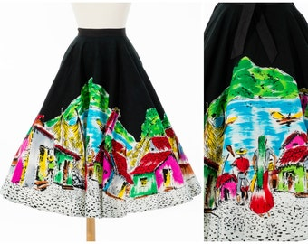 Vintage Mexican Skirt // Bright 1950s Tourist Full Skirt Novelty Souvenir by Lavable Small