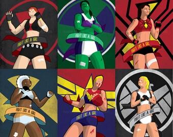 Fight Like a Girl Art Prints - Black Widow, Captain Marvel, Mockingbird, She-Hulk, Spider-Woman, Storm, marvel, comics, ufc, mma, fight